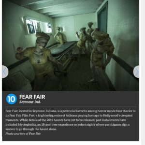 Fear Fair was selected as one of the USA Today Ten Best Extreme Haunted Attractions in 2015